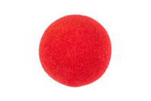 Red Clown Nose Isolated On Whi...