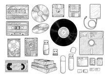 Information Storage Equipment Collection, Illustration, Drawing, Engraving, Ink, Line Art, Vector