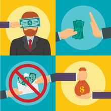 Corruption Abuse Banner Set. Flat Illustration Of Corruption Abuse Vector Banner Set For Web Design