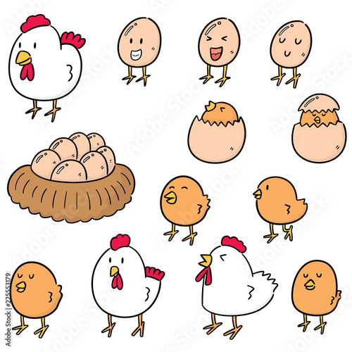 Obraz na plátně vector set of chicken and egg