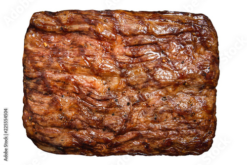 Papiers peints Steakhouse Delicious fried meat steak isolated on white background for food menu, cafe and restaurants