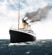Illustration Of The Titanic In...