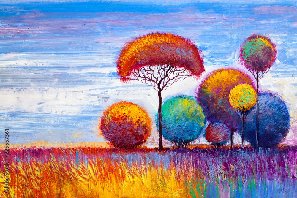 original oil painting of autumn landscape
