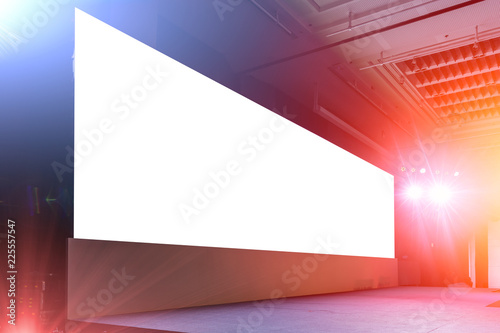 Fototapeta blank large led billboard screen panel background on event light and sound stage show obraz