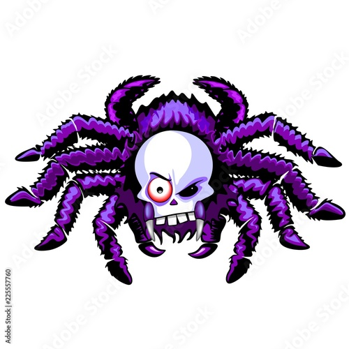 Staande foto Draw Spider Skull Halloween Creepy Monster