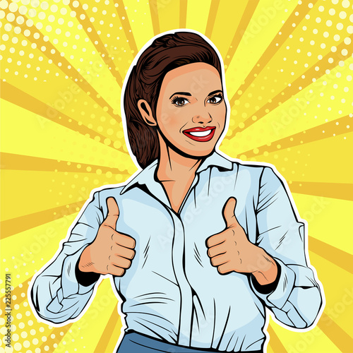 Obraz na plátně Like successful female businesswoman showing thumb up