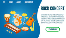 Rock Concert Concept Banner. Isometric Banner Of Rock Concert Vector Concept For Web, Giftcard And Postcard
