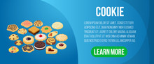 Cookie Concept Banner. Isometric Banner Of Cookie Vector Concept For Web, Giftcard And Postcard