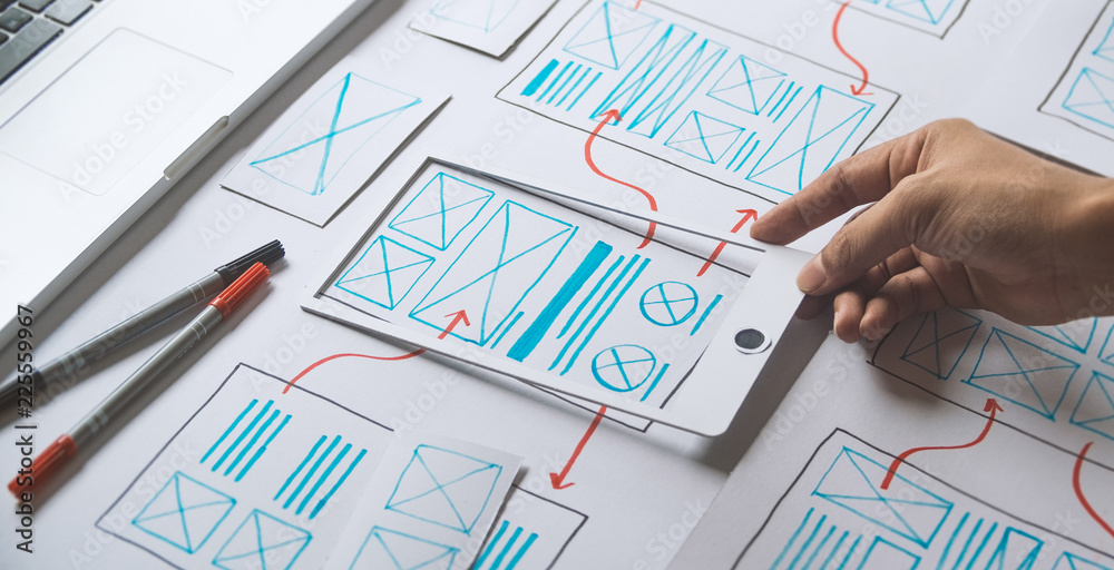 Fototapeta ux Graphic designer creative  sketch planning application process development prototype wireframe for web mobile phone . User experience concept.