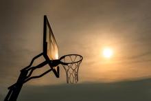 Basketball Backboard  At Sunset