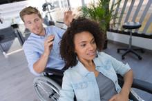 Handicapped Hairdresser And Hi...