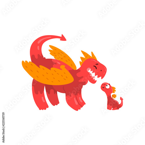 Happy loving mother dragon and her baby, cute family of mythical animals cartoon characters vector Illustration on a white background