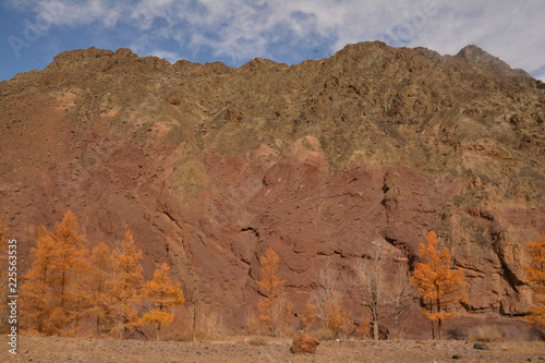 mountains landscape nature landscape view sky air oxygen autumn season grass trees blue yellow sand stone gray brown ridge water river rocks rock blue Altai,Russia open space