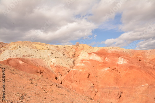 Spoed Foto op Canvas Beige mountains landscape nature landscape view sky air oxygen autumn season grass trees blue yellow sand stone gray brown ridge water river rocks rock blue Altai,Russia open space