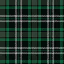 Seamless Plaid Pattern In Black, Green And White Stripes.