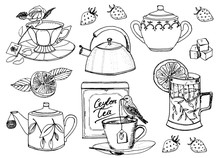 Tea Time. Set Of Kettle. Natural Organic Product. Farm Products. Trendy Cute Vector Illustration. Engraved Hand Drawn Line Art Vintage Old Doodle Sketch, Ink. Vector Illustration For Label.