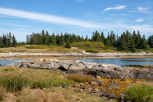 Scenic View Of Vinalhaven Coastline With Blue Sky And Rocks