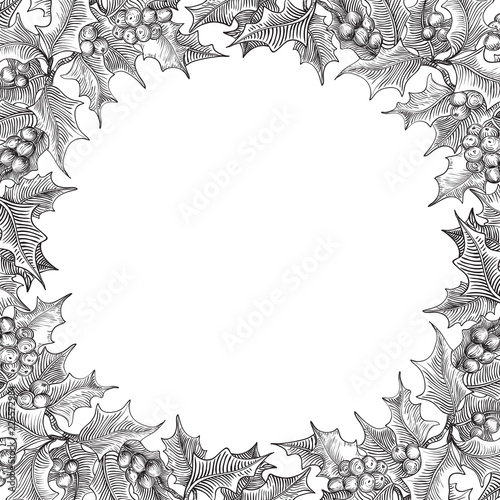 Christmas Border Black And White.Vintage Merry Christmas Border Vector Holly Branches On