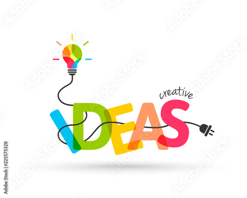 Obraz Creative ideas concept. Integrated text and lettering with light bulb made of colors. - fototapety do salonu