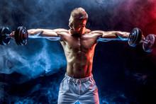 Handsome Bodybuilder Doing Exe...
