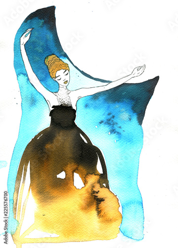 Foto op Canvas Schilderkunstige Inspiratie Illustration of a dancing woman