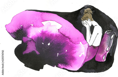 Spoed Foto op Canvas Schilderkunstige Inspiratie Illustration of a sad woman