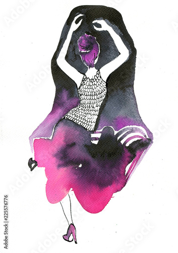 Photo sur Aluminium Inspiration painterly Illustration of a dancing woman