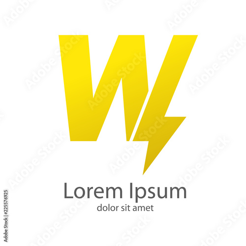 Logotipo letra W estilo rayo color amarillo Fototapeta
