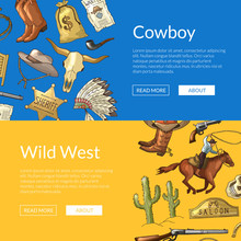 Vector Hand Drawn Wild West Cowboy Elements Web Banner Templates Illustration With Horses, Cacti And Cow Skull