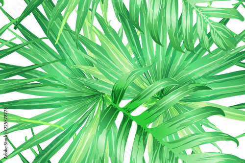Wall Murals Tropical leaves Green yellow exotic pattern.