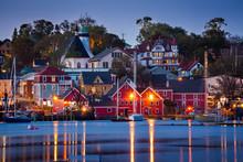 View Of The Famous Harbor Front Of Lunenburg, Nova Scotia, Canada.