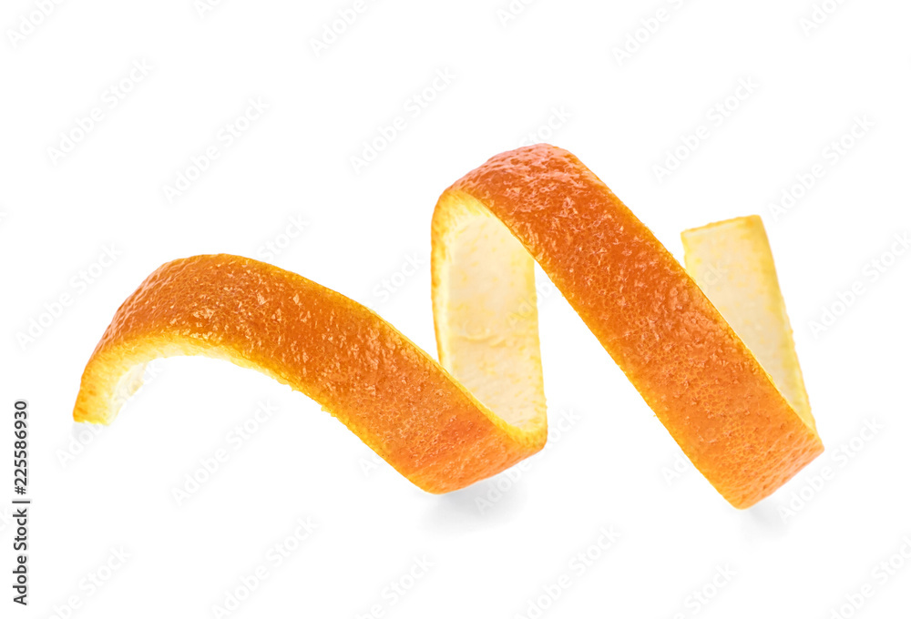 Fototapeta Fresh orange skin isolated on a white background