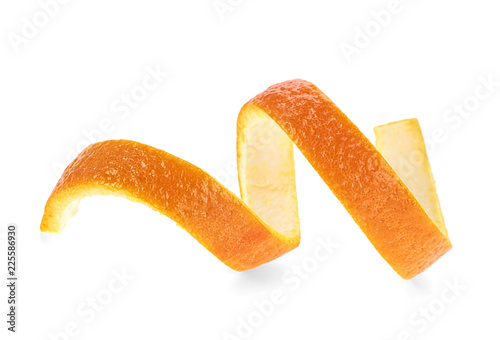 Fresh orange skin isolated on a white background - 225586930