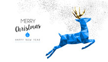 Christmas And New Year Vintage Blue Reindeer Card