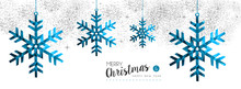 Christmas And New Year Blue Winter Snow Card