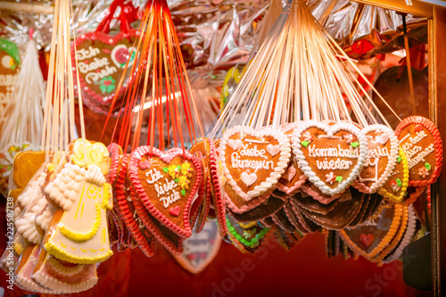 Gingerbread hanging at the christmas market Canvas Print