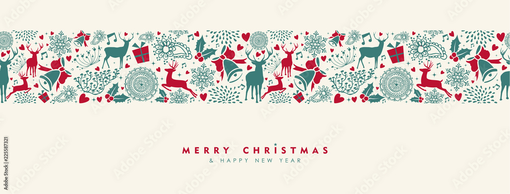 Fototapeta Christmas and New Year vintage deer banner