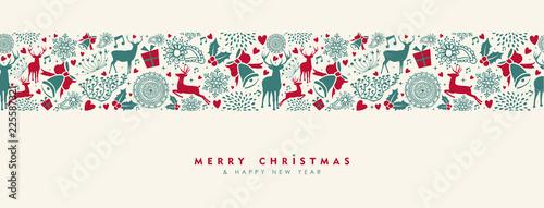 Fototapeta Christmas and New Year vintage deer banner obraz