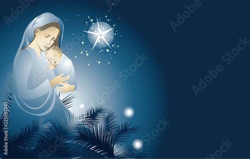 Obraz na płótnie Nativity scene with Holy Family