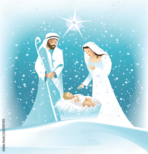 Fotografie, Obraz Nativity scene with Holy Family