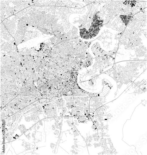 Fotografía Mappa satellitare di Ho Chi Minh, Vietnam, strade della città
