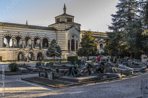 Garden Poster Madrid Old monumental cemetery in Milan