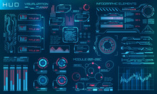 Futuristic HUD Design Elements. Infographic Or Technology Interface For Information Visualization