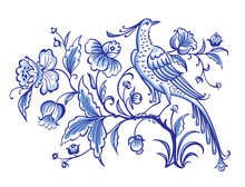 Fantastic Bird On A Magic Tree With Flowers, Decorative Vector Ornament In Blue Tones. Painting For Dishes, Print For Fabric, Embroidery, Etc. Delft And English Porcelain, Gzhel Painting.