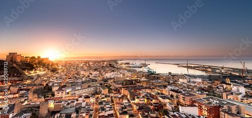 Sunrise in the city of Almeria