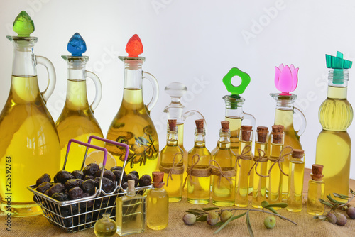 Fotobehang Aromatische olive oil and shopping culture for healthy life