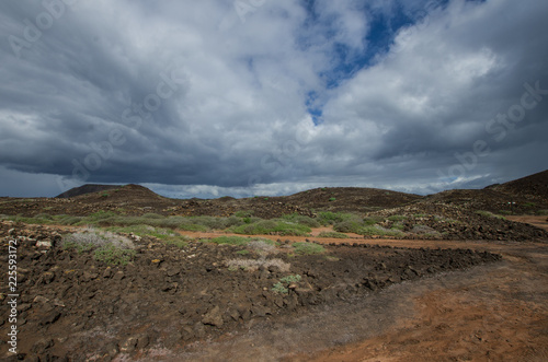 Tuinposter Canarische Eilanden windy path on the volcanic island Los Lobos, a natural reserve in the Canary Islands. Spain