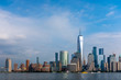 Skyline of Downtown Manhattan over Hudson River