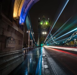 Fototapeta Light trails on Tower Bridge in London