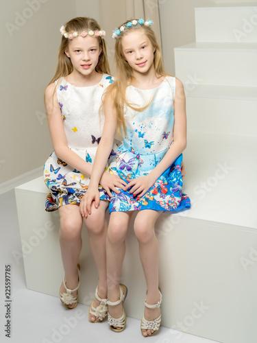 Two beautiful little girls in the studio.